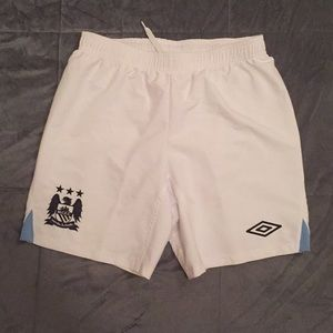 Manchester City White Drawstring Soccer Shorts
